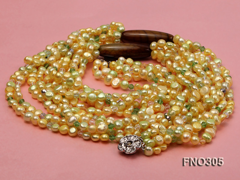 7-8mm yellow flat freshwater pearl and crystal five-strand necklace big Image 3