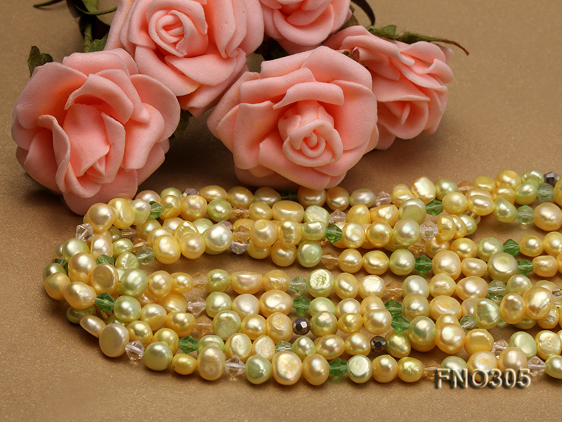 7-8mm yellow flat freshwater pearl and crystal five-strand necklace big Image 4
