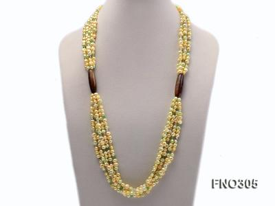 7-8mm yellow flat freshwater pearl and crystal five-strand necklace FNO305 Image 1