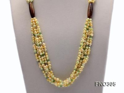 7-8mm yellow flat freshwater pearl and crystal five-strand necklace FNO305 Image 2
