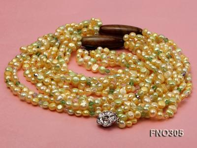 7-8mm yellow flat freshwater pearl and crystal five-strand necklace FNO305 Image 3