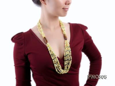 7-8mm yellow flat freshwater pearl and crystal five-strand necklace FNO305 Image 7
