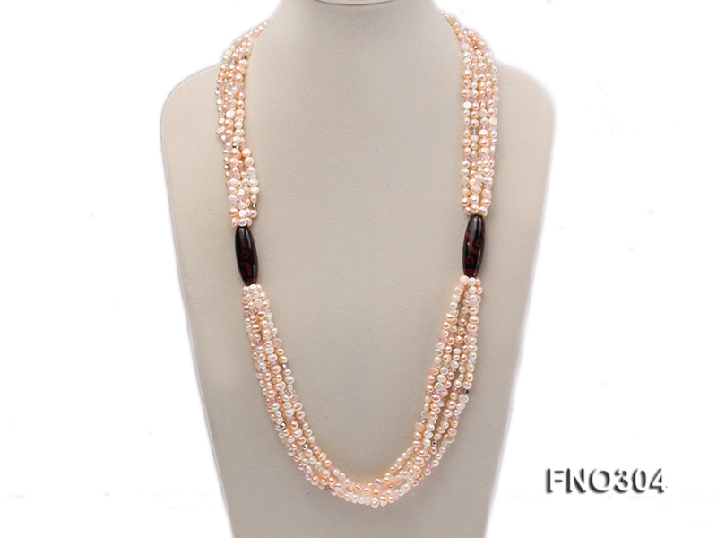 7-8mm pink flat freshwater pearl and crystal five-strand necklace big Image 1