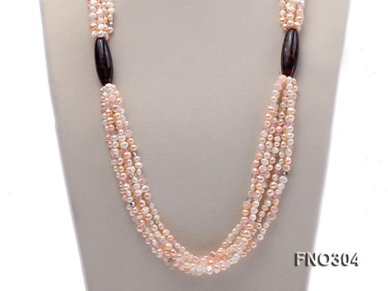 7-8mm pink flat freshwater pearl and crystal five-strand necklace big Image 2