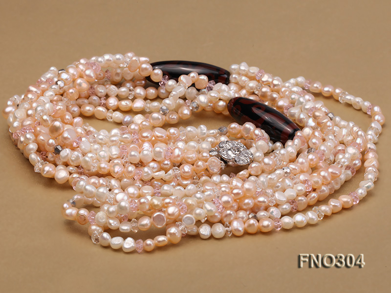 7-8mm pink flat freshwater pearl and crystal five-strand necklace big Image 3