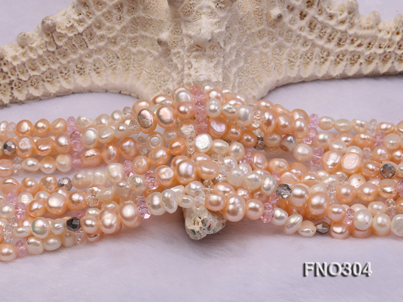 7-8mm pink flat freshwater pearl and crystal five-strand necklace big Image 4