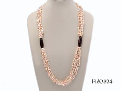 7-8mm pink flat freshwater pearl and crystal five-strand necklace FNO304 Image 1
