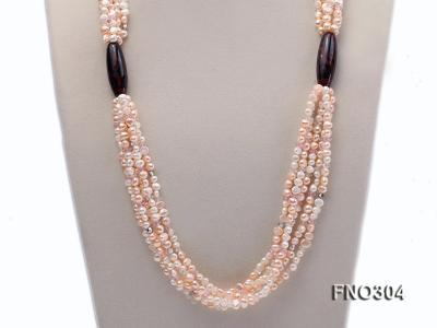 7-8mm pink flat freshwater pearl and crystal five-strand necklace FNO304 Image 2