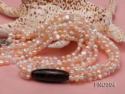 7-8mm pink flat freshwater pearl and crystal five-strand necklace FNO304 Image 5