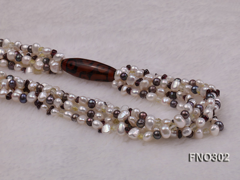 5-7mm white and purple flat freshwater pearl and crystal five-strand necklace big Image 4