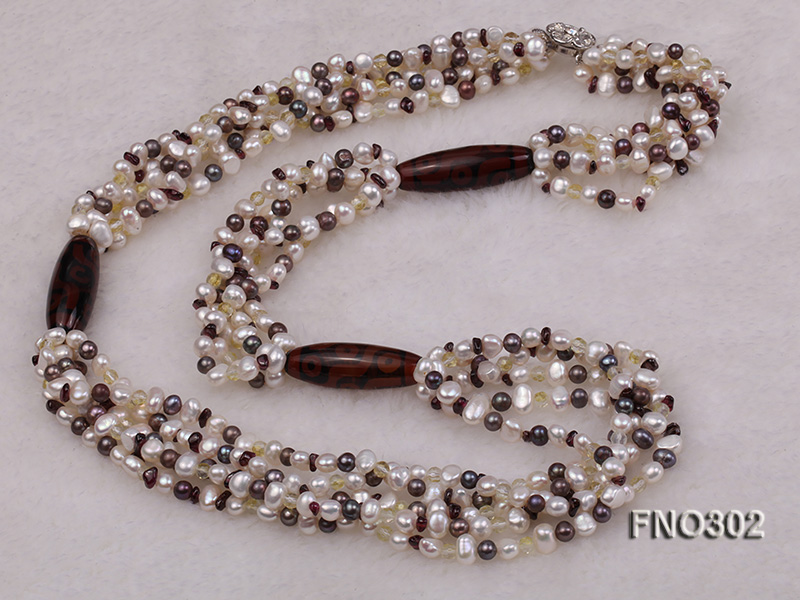 5-7mm white and purple flat freshwater pearl and crystal five-strand necklace big Image 5