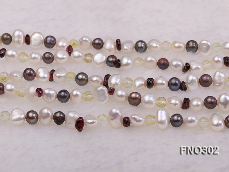 5-7mm white and purple flat freshwater pearl and crystal five-strand necklace big Image 6