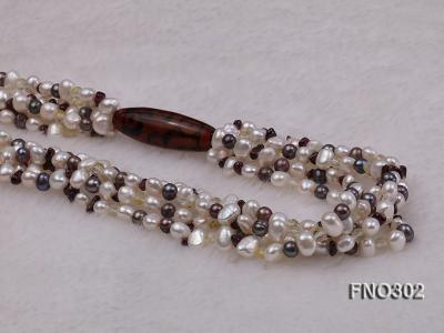 5-7mm white and purple flat freshwater pearl and crystal five-strand necklace FNO302 Image 4