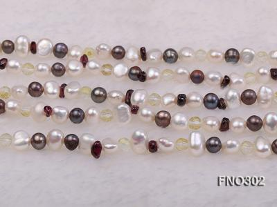 5-7mm white and purple flat freshwater pearl and crystal five-strand necklace FNO302 Image 6