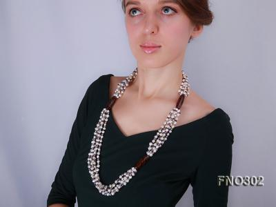 5-7mm white and purple flat freshwater pearl and crystal five-strand necklace FNO302 Image 8