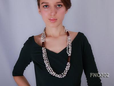 5-7mm white and purple flat freshwater pearl and crystal five-strand necklace FNO302 Image 1