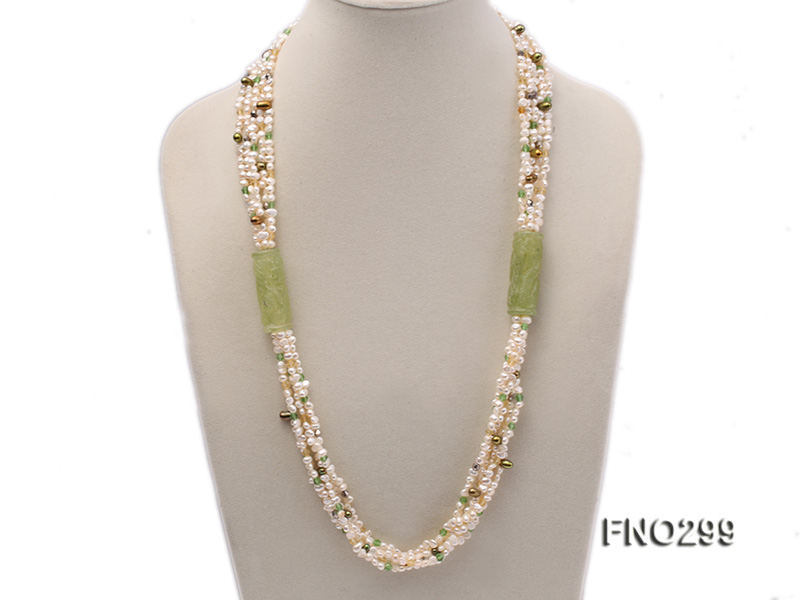 5-6mm white flat freshwater pearl and crystal necklace big Image 1