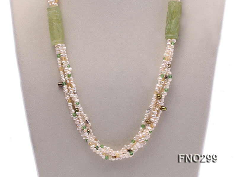 5-6mm white flat freshwater pearl and crystal necklace big Image 2