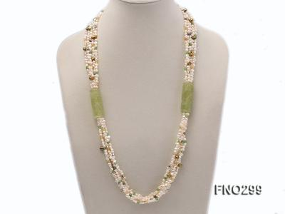 5-6mm white flat freshwater pearl and crystal necklace FNO299 Image 1