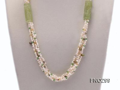 5-6mm white flat freshwater pearl and crystal necklace FNO299 Image 2