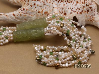 5-6mm white flat freshwater pearl and crystal necklace FNO299 Image 5