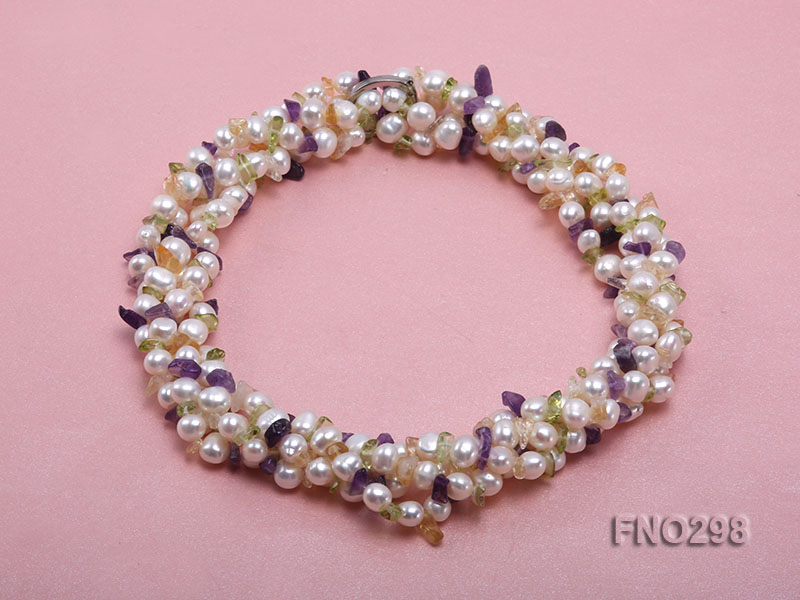8-10mm white flat freshwater pearl and crystal chips necklace big Image 1