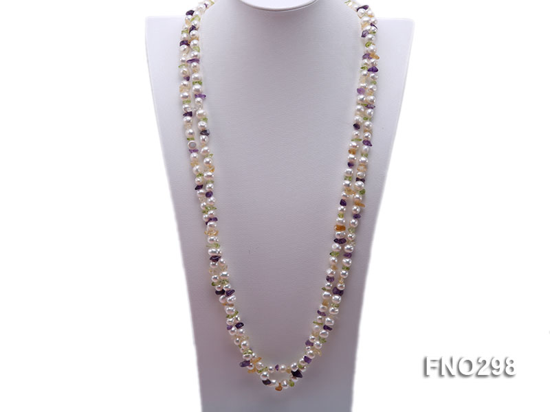 8-10mm white flat freshwater pearl and crystal chips necklace big Image 2