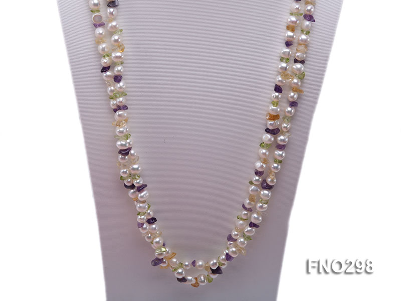 8-10mm white flat freshwater pearl and crystal chips necklace big Image 3