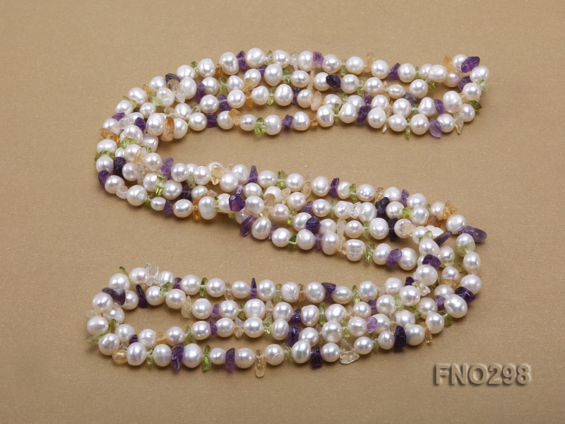 8-10mm white flat freshwater pearl and crystal chips necklace big Image 4