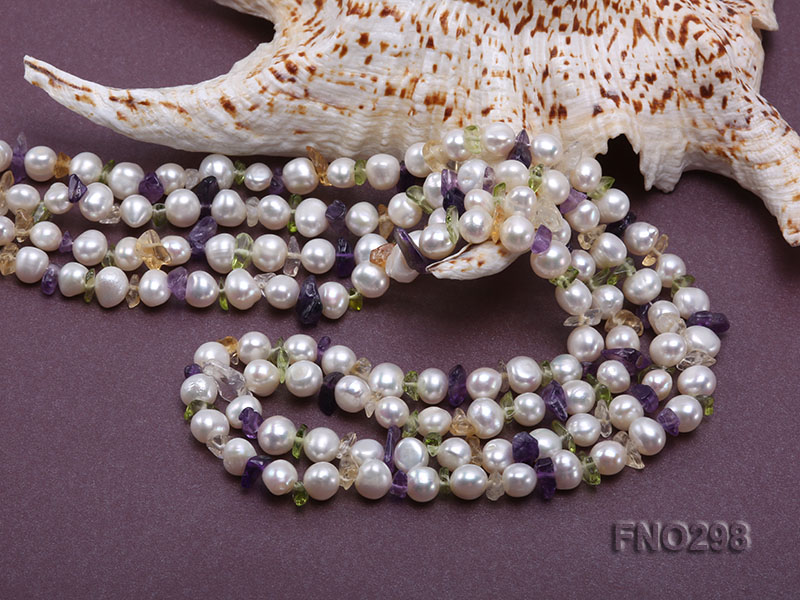 8-10mm white flat freshwater pearl and crystal chips necklace big Image 5