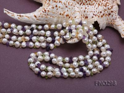 8-10mm white flat freshwater pearl and crystal chips necklace FNO298 Image 5