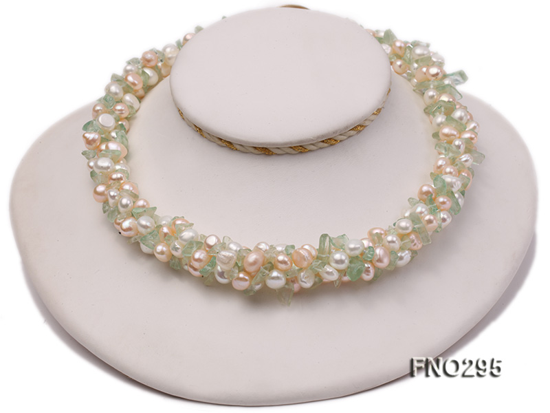 8-10mm white and light yellow round freshwater pearl and crystal chips necklace big Image 1