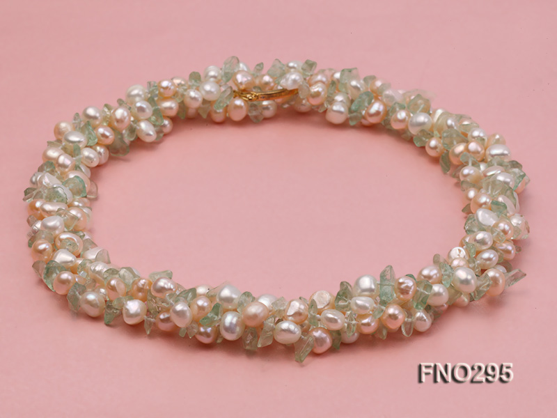 8-10mm white and light yellow round freshwater pearl and crystal chips necklace big Image 3
