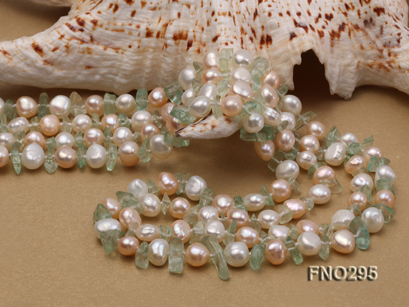 8-10mm white and light yellow round freshwater pearl and crystal chips necklace big Image 5