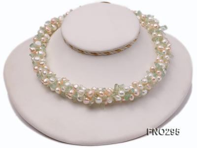 8-10mm white and light yellow round freshwater pearl and crystal chips necklace FNO295 Image 1