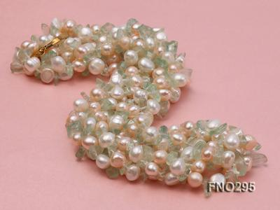8-10mm white and light yellow round freshwater pearl and crystal chips necklace FNO295 Image 2
