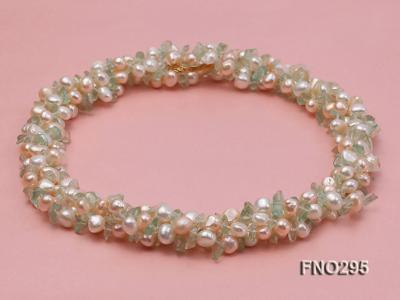 8-10mm white and light yellow round freshwater pearl and crystal chips necklace FNO295 Image 3