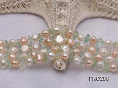 8-10mm white and light yellow round freshwater pearl and crystal chips necklace FNO295 Image 4
