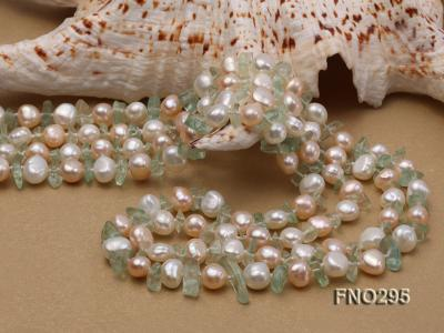 8-10mm white and light yellow round freshwater pearl and crystal chips necklace FNO295 Image 5