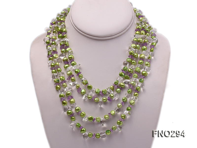 8-10mm green flat freshwater pearl and crystal chips opera necklace big Image 1