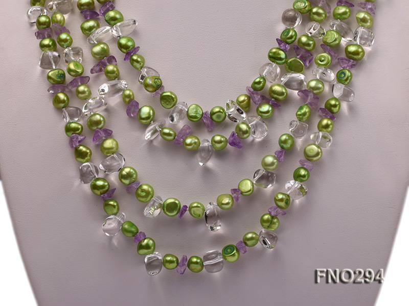 8-10mm green flat freshwater pearl and crystal chips opera necklace big Image 2