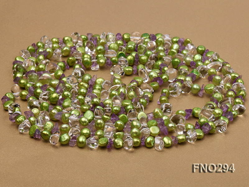 8-10mm green flat freshwater pearl and crystal chips opera necklace big Image 3