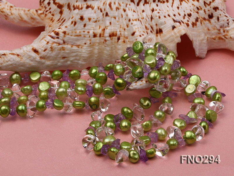 8-10mm green flat freshwater pearl and crystal chips opera necklace big Image 4