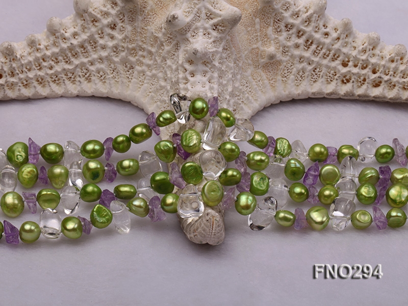 8-10mm green flat freshwater pearl and crystal chips opera necklace big Image 5