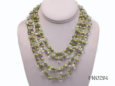 8-10mm green flat freshwater pearl and crystal chips opera necklace FNO294 Image 1