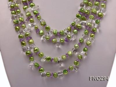8-10mm green flat freshwater pearl and crystal chips opera necklace FNO294 Image 2