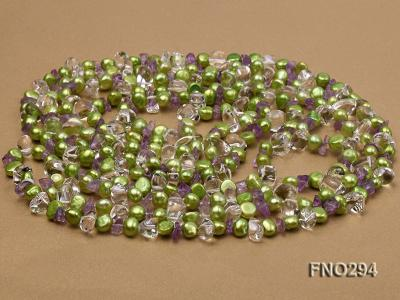 8-10mm green flat freshwater pearl and crystal chips opera necklace FNO294 Image 3