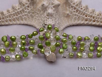 8-10mm green flat freshwater pearl and crystal chips opera necklace FNO294 Image 5