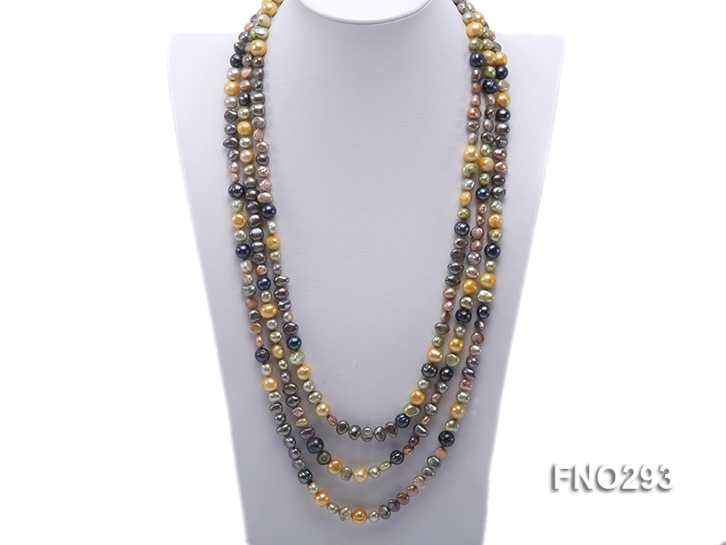 5-8mm multicolor flat freshwater pearl necklace big Image 1