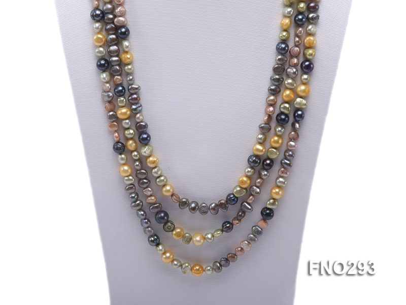 5-8mm multicolor flat freshwater pearl necklace big Image 3